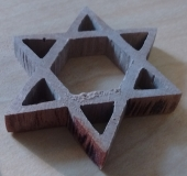 Sapele Wood Jewish Star of David with Band Saw Burns